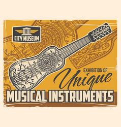 Musical folk instruments exhibition poster vector