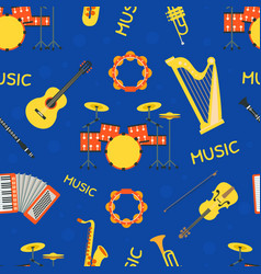 musical instruments seamless pattern design vector image