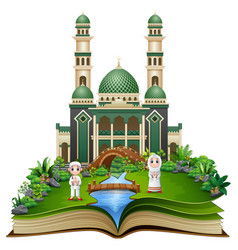 open book with happy muslim kids cartoon in front vector image