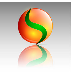 orange and green circle logo vector image