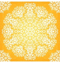 Ornate vintage yellow lacy seamless pattern vector