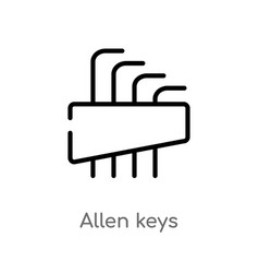 Outline allen keys icon isolated black simple vector
