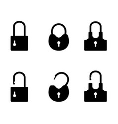 padlock black silhouettes vector image
