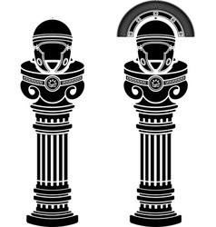 pedestals of roman helmets vector image