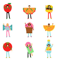 People wearing fast food healthy snacks costumes vector