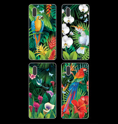 Phone case collection with tropical jungle plants vector