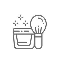 Powder kabuki brush face cream in jar line icon vector