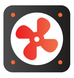 Radiator fan flat icon car fan cooling color vector