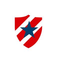 red blue american star shield logo design symbol vector image