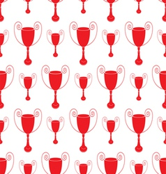 Red Seamless pattern with trophy vector