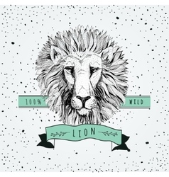 retro lion head design vector image