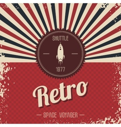retro space rocket template theme vector image