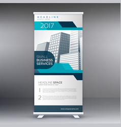 Roll up banner flyer standee design in blue color vector