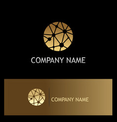 Round dot connect technology gold logo vector