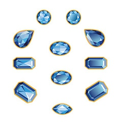 Sapphire Set Isolated Objects vector