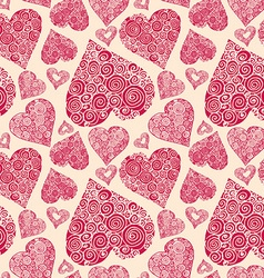Seamless pattern with romantic decorative harts vector
