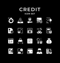 Set glyph icons credit vector