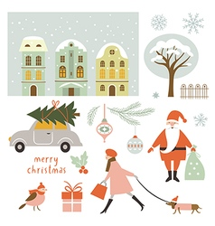 Set of Christmas elements and vector
