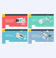 Set of website template designs vector