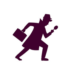 silhouette of detective character design vector image