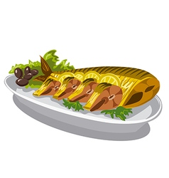 Smoked mackerel on plate vector