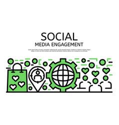 social media engagement banner outline style vector image