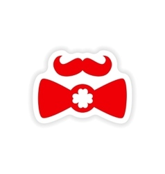 Stylish paper sticker on white background mustache vector