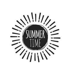 summer fun sticker sun badge hand drawn vector image
