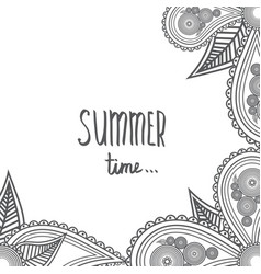summer time - hand drawn brush text handmade vector image