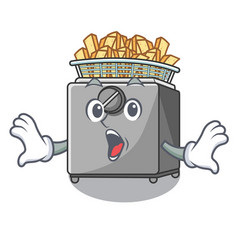 Surprised cooking french fries in deep fryer vector