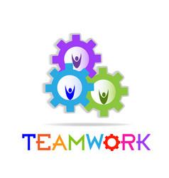 Teamwork working gears community icon vector