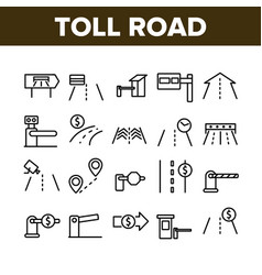 Toll road highway collection icons set vector