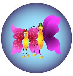 Two butterflies dancing vector