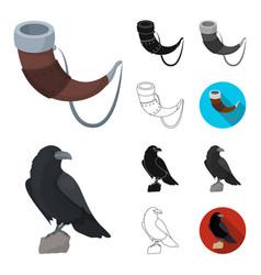 Vikings and attributes cartoonblackflat vector