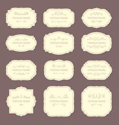 Vintage label frames old ornamental labels vector