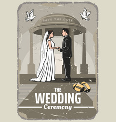 Wedding invitation retro card with bride and groom vector