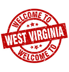 Welcome to west virginia red stamp vector