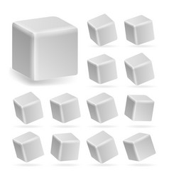 white cube 3d set perspective models of a vector image
