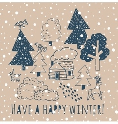 Winter greeting card with sign and snow vector image