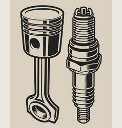 With spark plug and wrenche vector