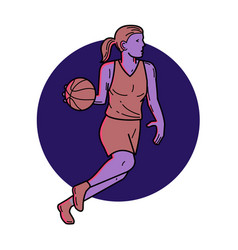 Woman basketball player dribbling mono line art vector