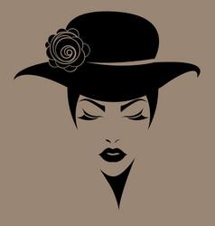 women short hair with a hat logo women face vector image