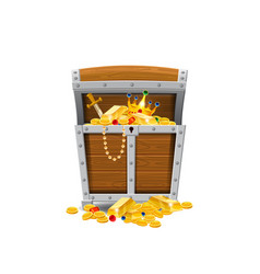 wooden old pirate chests full of treasures gold vector image