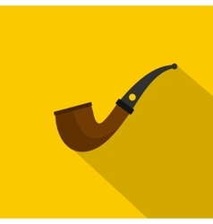 Wooden pipe for smoking icon flat style vector