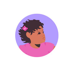 Young african american girl face avatar little vector
