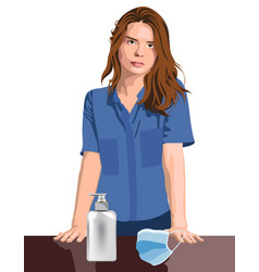 Young girl nurse or medical worker with hand vector