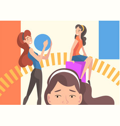 Young women organizing colorful abstract geometric vector