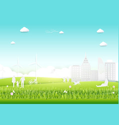 Ecology concept with green city and trees vector