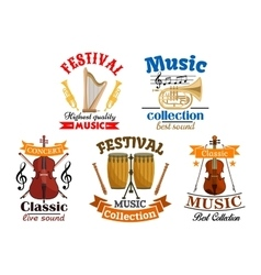 Emblems for classic live music festival concert vector image