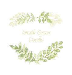 green floral doodle branch border vector image vector image